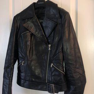 Black leather motorcycle jacket! Like new!